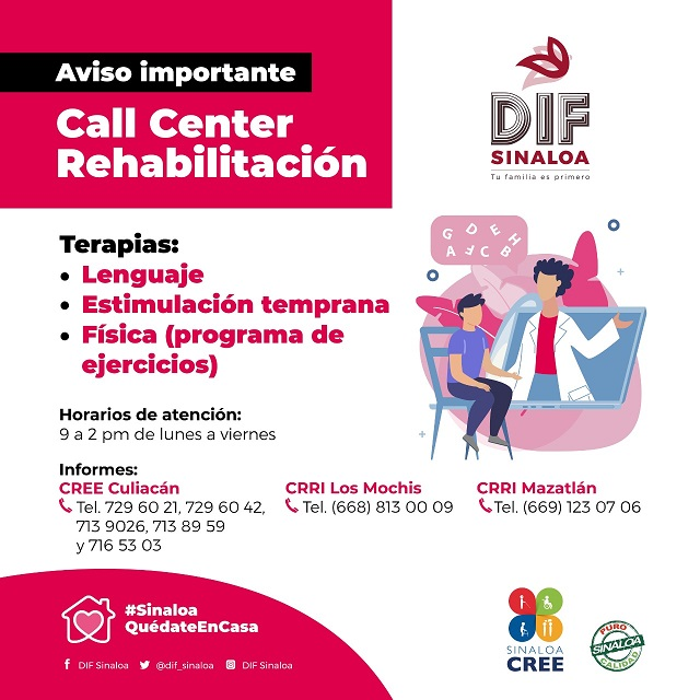 Activa DIF Sinaloa Call Center Rehabilitación